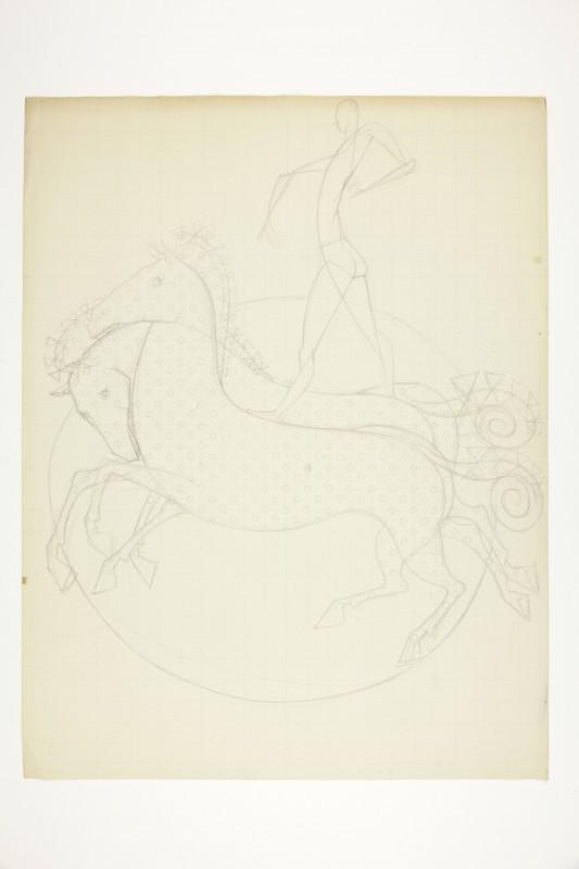 Acrobata sobre cavalos