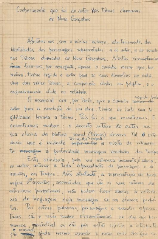 """""""Conhecimento que foi do autor nas tábuas chamadas de Nuno Gonçalves"""""""