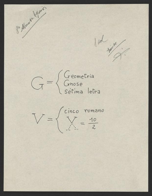 """""""Geometria, Gnose, sétima letra; V, cinco romano"""""""