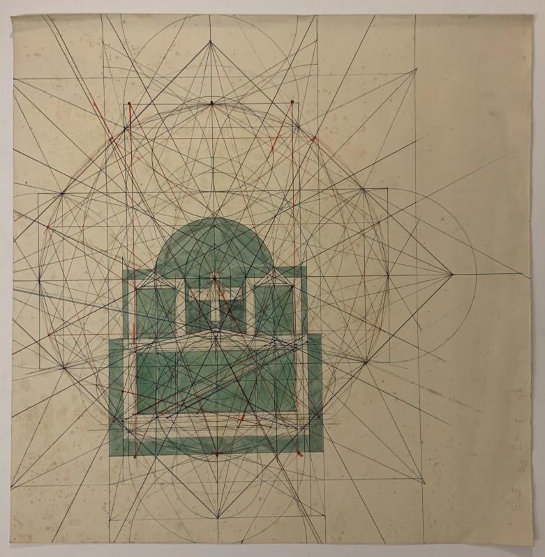 Sem título (Estudo geométrico para retábulo de dez pinturas)