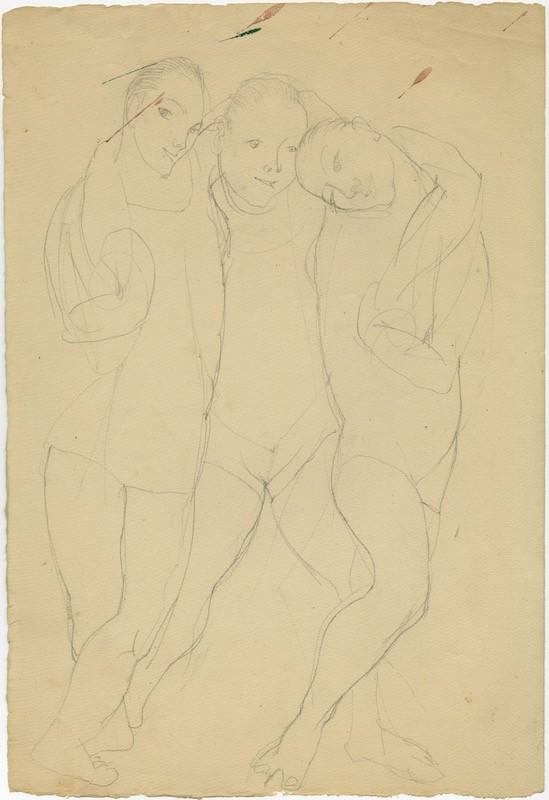 Três figuras abraçadas