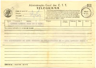 Telegrama de Lira e de António Areal a José de Almada Negreiros