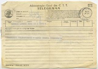 Telegrama de David Mourão-Ferreira a José de Almada Negreiros