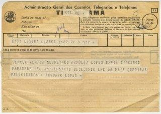 Telegrama de António Lopes a José de Almada Negreiros