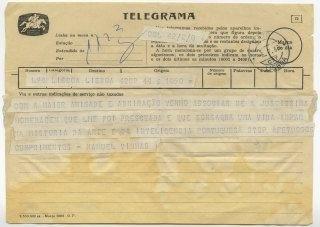 Telegrama de Manuel Vinhas a José de Almada Negreiros