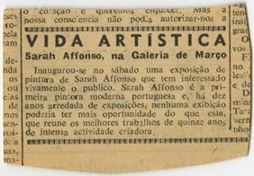 Vida Artística , Sarah Affonso, na Galeria de Março